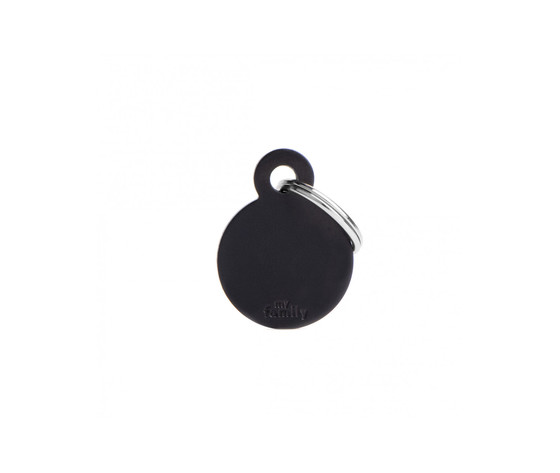 Medaglietta collezione basic cerchio piccolo nero in alluminio