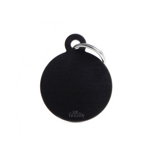 Medaglietta collezione Basic Cerchio Grande Nero in Alluminio