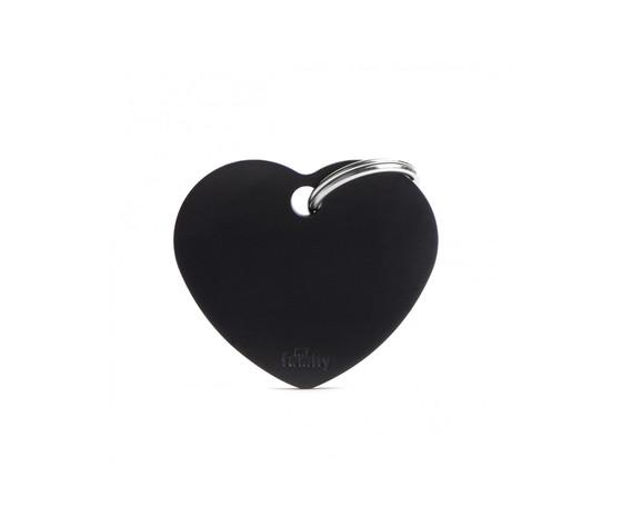 Medaglietta collezione basic cuore grande nero in alluminio