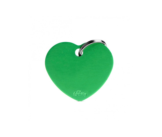 Medaglietta collezione basic cuore grande verde in alluminio