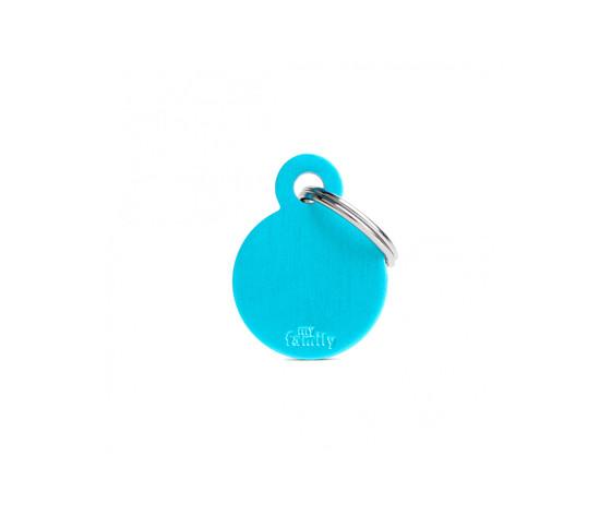 Medaglietta collezione basic cerchio piccolo azzurro in alluminio