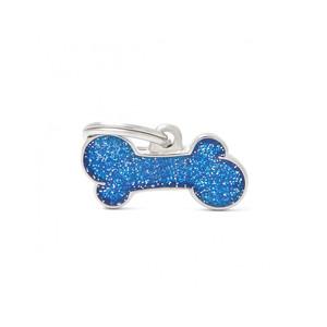 Medaglietta Shine Osso Piccolo Glitter Blu