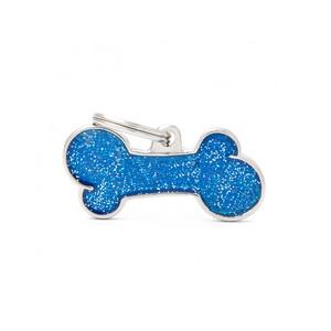 Medaglietta Shine Osso Grande Glitter Blu