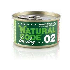 NATURAL CODE UMIDO CANE NATURALE 02 MANZO E VERDURE 90 GR