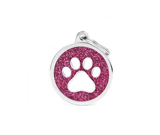 Medaglietta shine cerchio grande glitter rosa zampa bianca