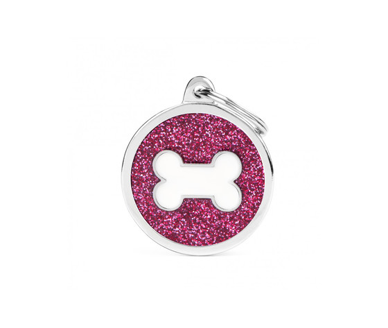 Medaglietta shine cerchio grande glitter rosa osso bianco