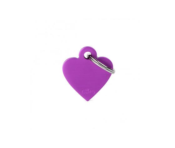Medaglietta collezione basic cuore piccolo viola in alluminio