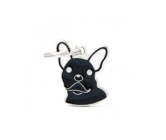 Medaglietta cane bulldog francese nero