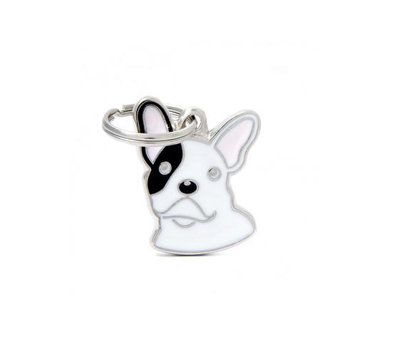 Medaglietta cane bulldog francese bianco e nero