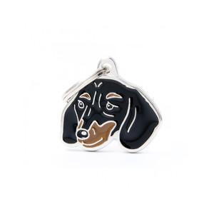 Medaglietta cane bassotto nero focato nuovo