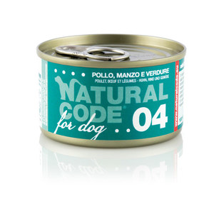 NATURAL CODE UMIDO CANE NATURALE 04 POLLO, MANZO E VERUDRE 90 GR