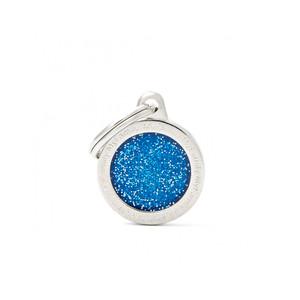 Medaglietta Shine Cerchio Piccolo Glitter Blu