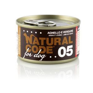 NATURAL CODE UMIDO CANE NATURALE 05 AGNELLO E VERUDRE 90 GR