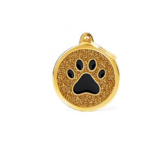 Medaglietta shine cerchio grande glitter oro zampa nera