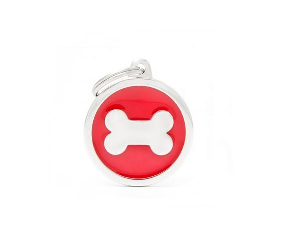 Medaglietta classic cerchio grande rosso osso