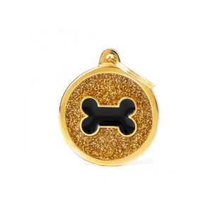 Medaglietta Shine Cerchio Grande Glitter Oro Osso Nero