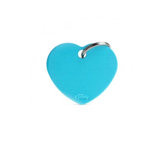 Medaglietta collezione basic cuore grande azzurro in alluminio