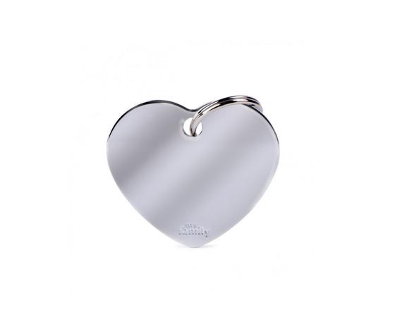 Medaglietta collezione basic cuore grande in ottone cromato
