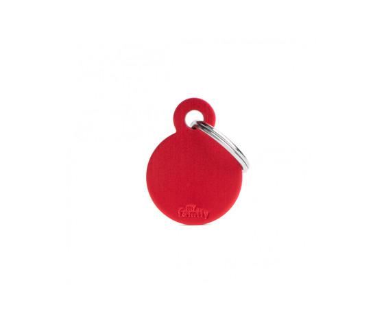 Medaglietta collezione basic cerchio piccolo rosso in alluminio