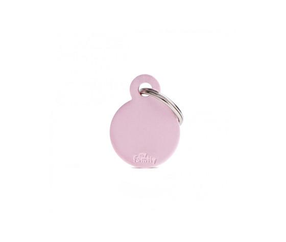 Medaglietta collezione basic cerchio piccolo rosa in alluminio