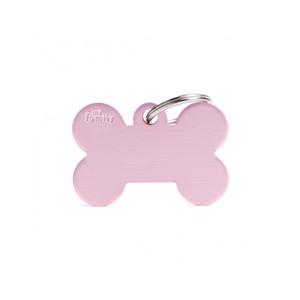 Medaglietta collezione Basic Osso Grande in Alluminio Rosa