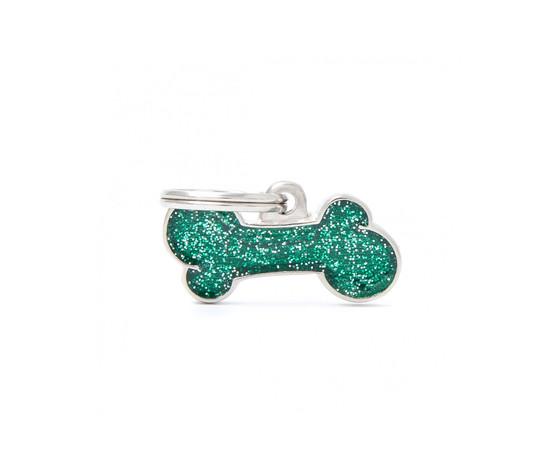 Medaglietta shine osso piccolo glitter verde