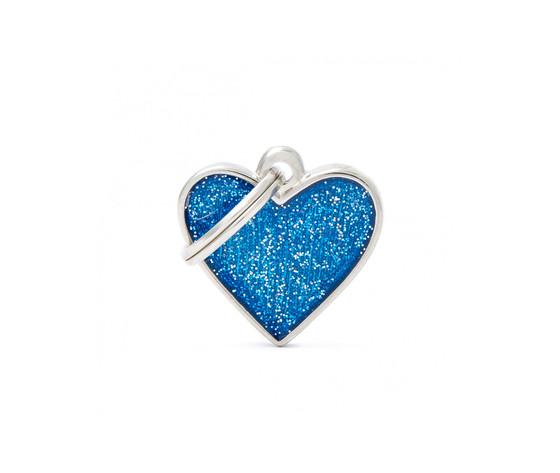 Medaglietta shine cuore piccolo glitter blu