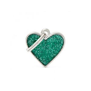 Medaglietta Shine Cuore Piccolo Glitter Verde