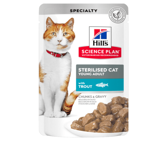 Sp feline science plan sterilised cat young adult with trout pouch productshot 500