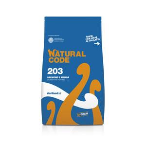 NATURAL CODE SECCO 203 SALMONE E ARINGA STERILSED GATTO 1,5 KG
