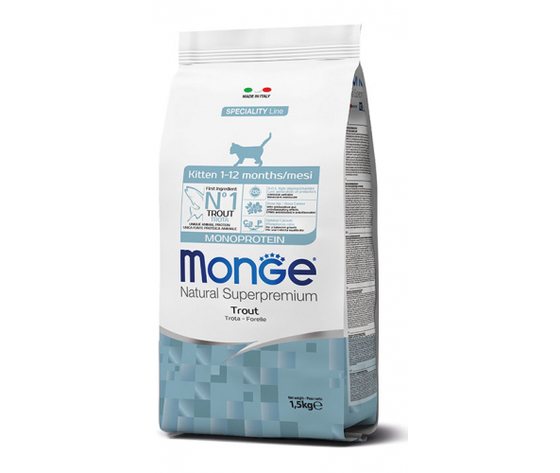 Monge gatto secco kitten monoprotein trota 270x500