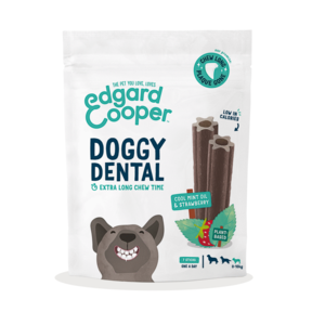 EDGARD & COOPER CANE DOGGY DENTAL MENTA & FRAGOLA SMALL 7 STICKS