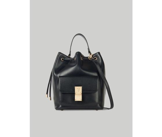 Medium lione bucket bag in faux leather trussardi jeans 10 01 8051932553791 f