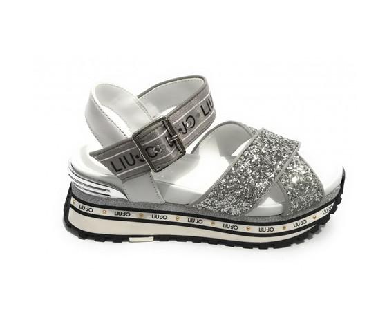 Scarpe sandalo liu jo maxi wonder in pelle silver glitter donna ba1081