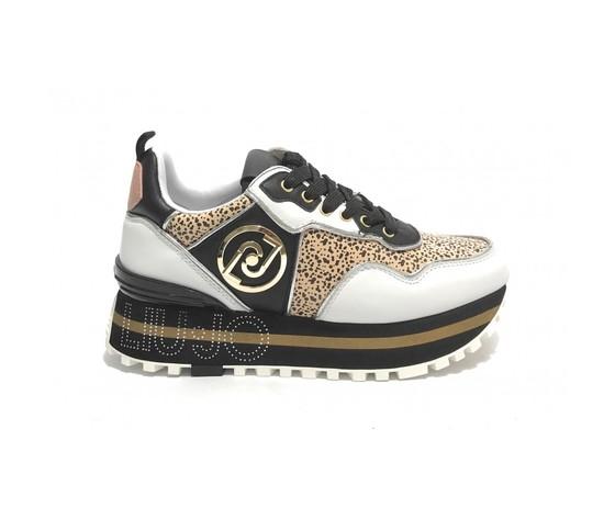 Scarpe sneaker liu jo maxi wonder 24 bianco nero animalier donna ds21lj15 ba1069px138s1005