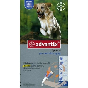 ADVANTIX SPOT-ON 4 PIPETTE CANI DA 25 KG   *DETRAIBILE FISCALM.