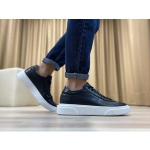 Sneakers in vera pelle col. Blu