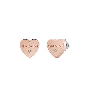 """Orecchini Cuore in oro rosa con diamante - Salvini Collezione """"I Segni"""""""