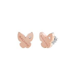 """Orecchini Farfalla in oro rosa con diamante - Salvini Collezione """"I Segni"""""""