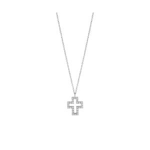 """Collana Croce in oro bianco con diamanti - Salvini Collezione """"I Segni"""""""