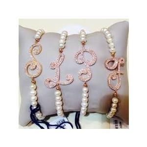 Bracciale perle con lettera in Argento e zirconi - Marcello Pane