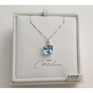 Collana donna oro bianco, topazio azzurro e diamanti - Miluna