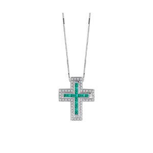 """Collana Croce in oro bianco con smeraldi e diamanti - Salvini Collezione """"I Segni"""""""