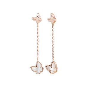 """Orecchini Farfalle in oro rosa e madreperla con diamante - Collezione """"I Segni"""""""