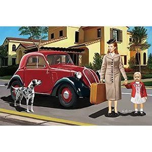 Auto civile leggera Italiana con equipaggio familiare (donna,bambina e cane)