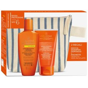 Collistar Confezione Superabbronzante intensivo ultra rapido  SPF 6 200 ml + Doccia - shampoo doposole Idratante restitutivo + Pochette tessuto 100 % riciclato