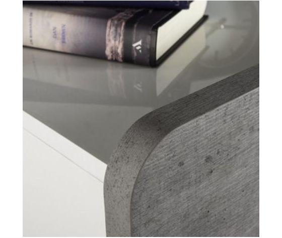 Cassettiera con 5 cassetti laccato bianco lucido e cemento guide in metallo p 2152314 13101556 4