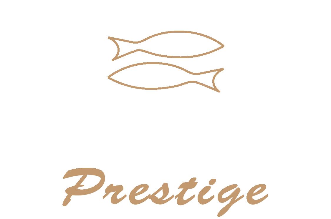 Logo agras prestige bianco e beige per fondo scuro