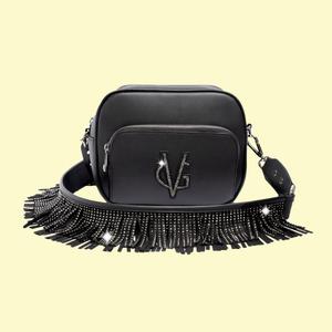 Valentina Giorgi borsa saponetta nera Urban frange
