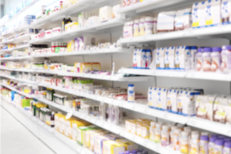 Medicine products placed in shelves at pharmacy p469lzf